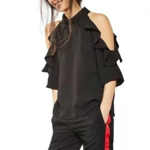 Topshop Cold Shoulder Ruffle Top